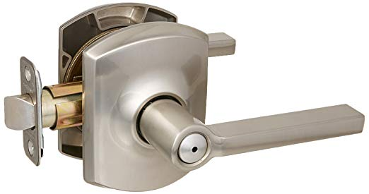 An image of Schlage F40LAT619GRW Privacy Satin Nickel Lever Lockset Lock | Door Lock Guide