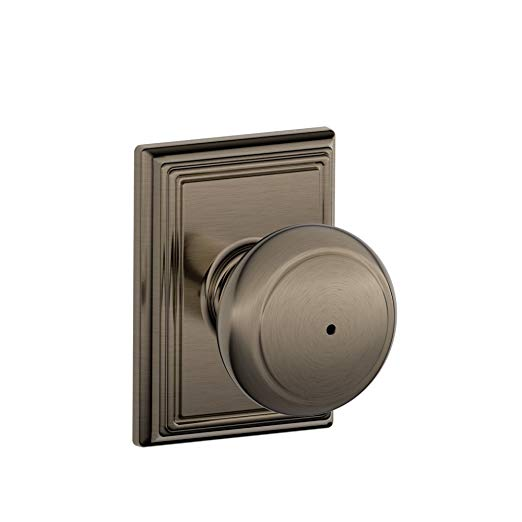 An image of Schlage F40 AND 620 ADD House Privacy Pewter Lever Lockset Lock | Door Lock Guide