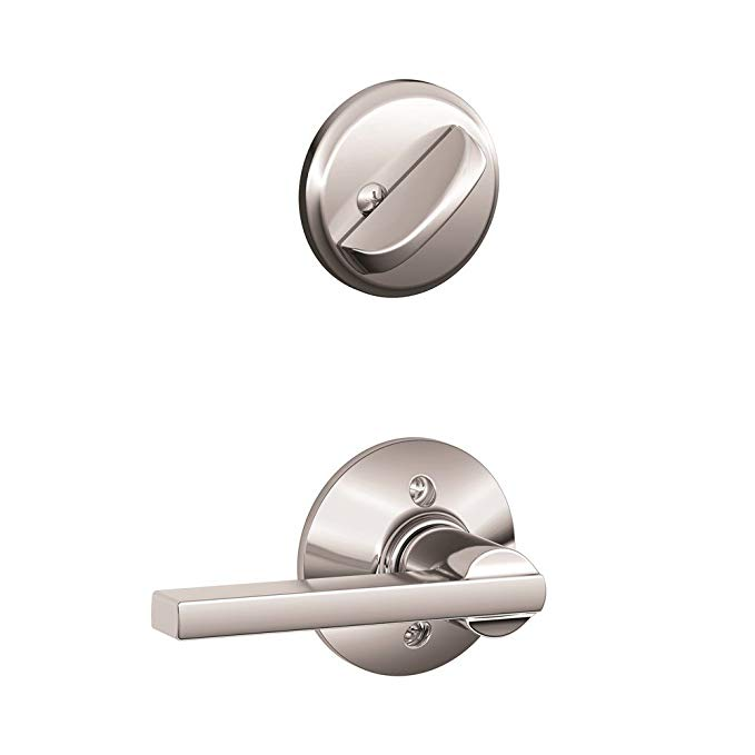 An image of Schlage F59 LAT Chrome Effect Lever Lockset Lock | Door Lock Guide