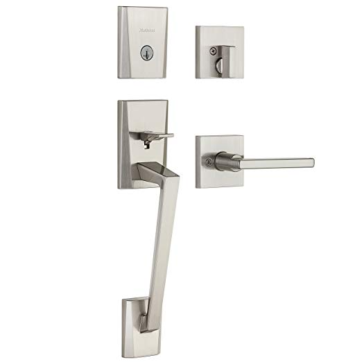 An image of Kwikset 98180-003 Metal Satin Nickel Lever Lockset Lock
