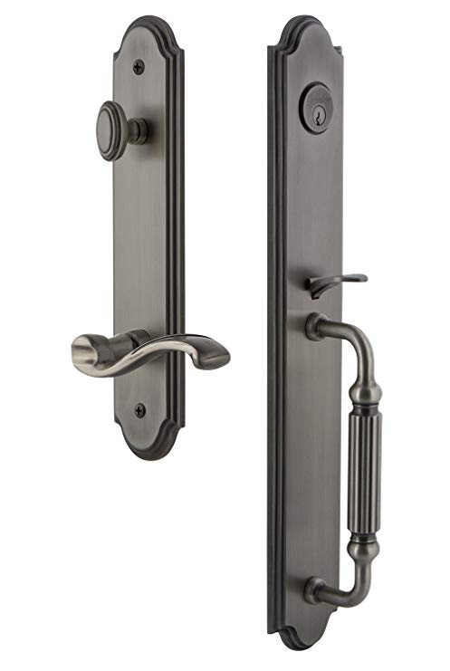 An image related to Grandeur 847022 Brass Pewter Lever Lockset Lock