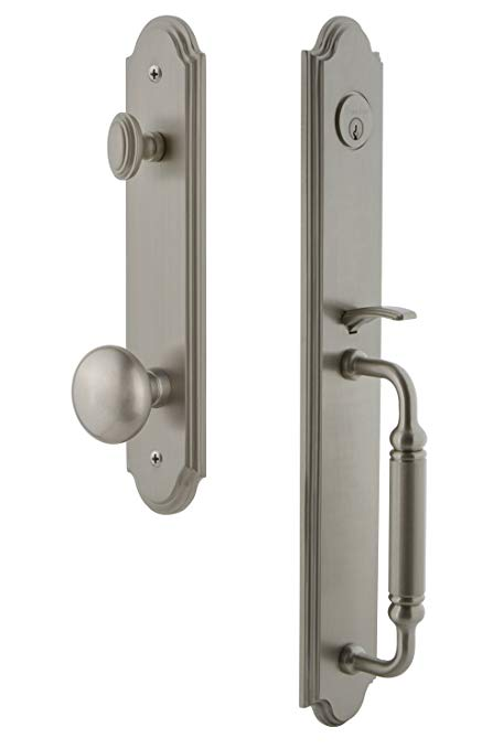 An image of Grandeur 841969 Brass Satin Nickel Lever Lockset Lock