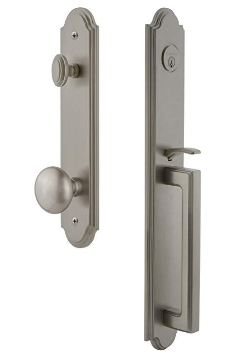 An image related to Grandeur 843978 Brass Satin Nickel Lever Lockset Lock