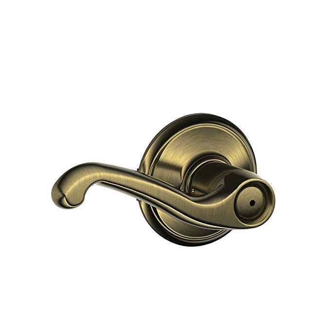 An image related to Schlage F40FLA609 Bathroom Privacy Brass Lever Lockset Lock