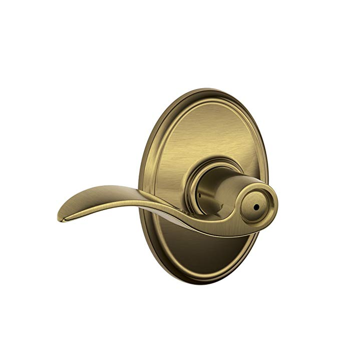 An image of Schlage F40 ACC 609 WKF House Privacy Brass Lever Lockset Lock | Door Lock Guide