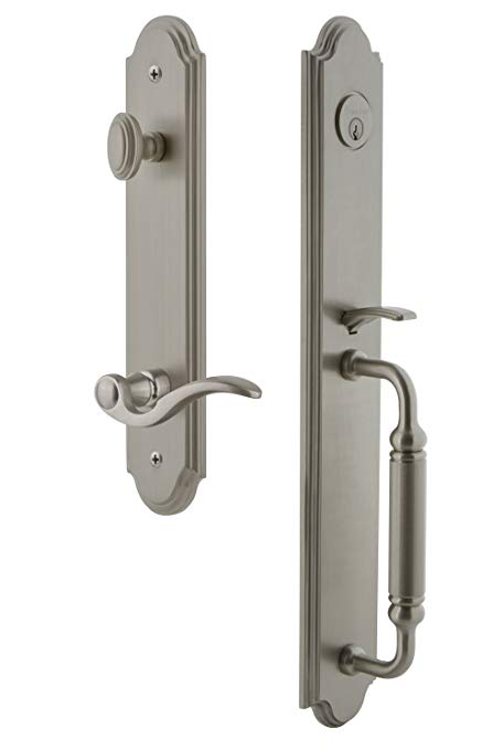 An image of Grandeur 842876 Satin Nickel Lever Lockset Door Lock