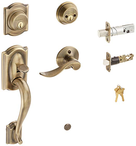 An image related to Schlage F62CAM609ACCLH Brass Lever Lockset Lock
