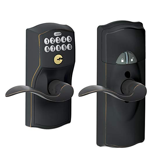 An image of Schlage FE599NX CAM House Entry Aged Bronze Camera Lever Lockset Lock