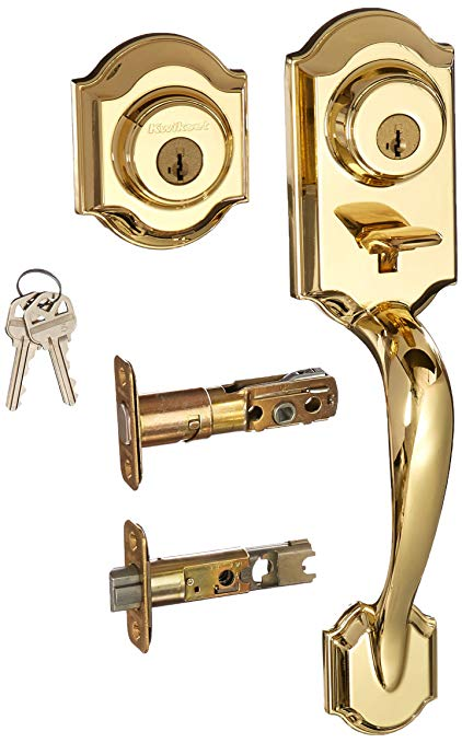 An image of Kwikset 95530-020 Polished Brass Lever Lockset Lock