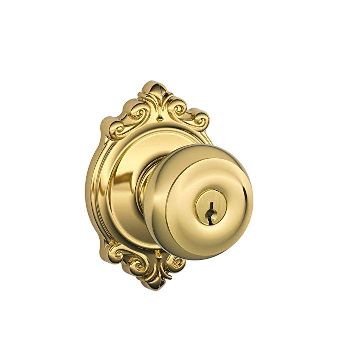 An image of Schlage F51A GEO 605 BRK Entry Brass Lock