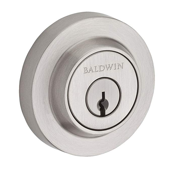 An image related to Baldwin 9BR3800-006 Brass Satin Nickel Lever Lockset Lock