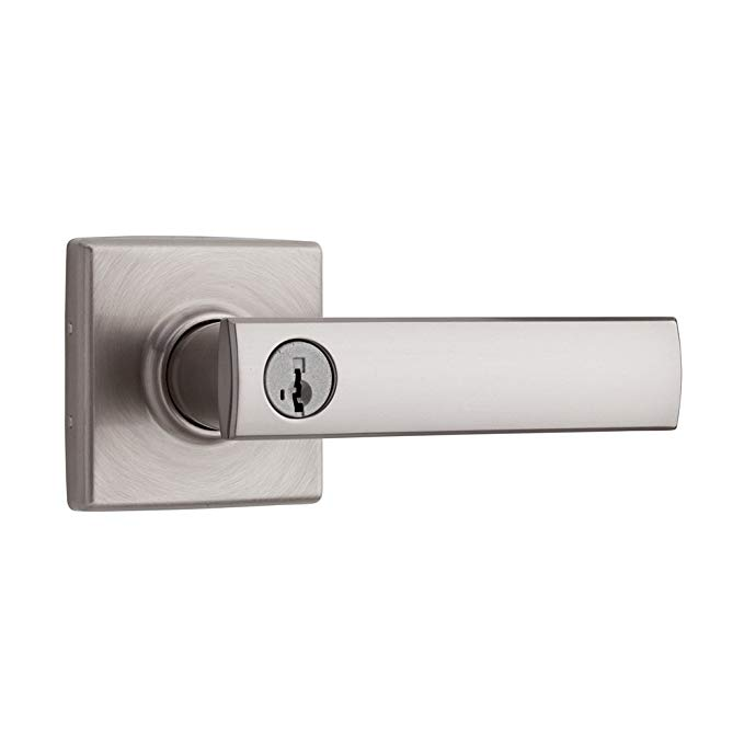 An image of Kwikset 97402-690 Entry Satin Nickel Lever Lockset Lock