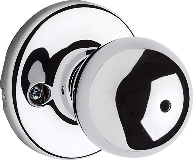 An image of Kwikset 93001-918 Bathroom Privacy Polished Chrome Lever Lockset Lock