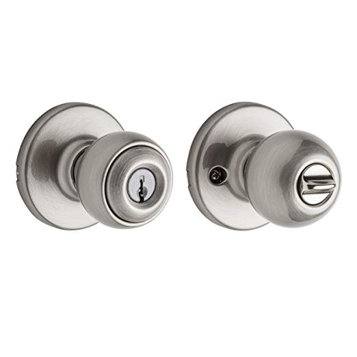 An image of Kwikset 94002-502 Entry Metal Satin Nickel Lever Lockset Lock