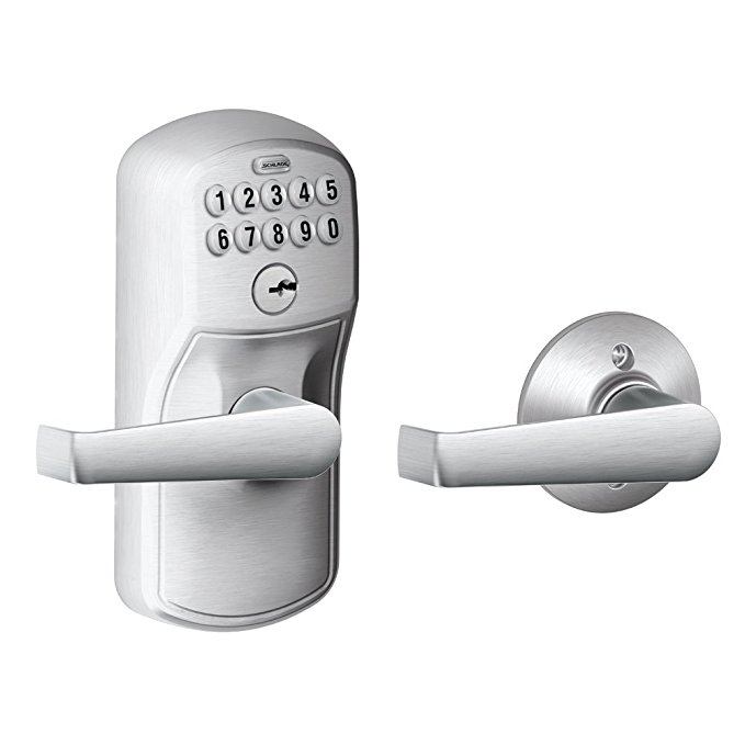 An image of Schlage FE575 PLY 626 ELA Entry Brushed Chrome Lever Lockset Lock