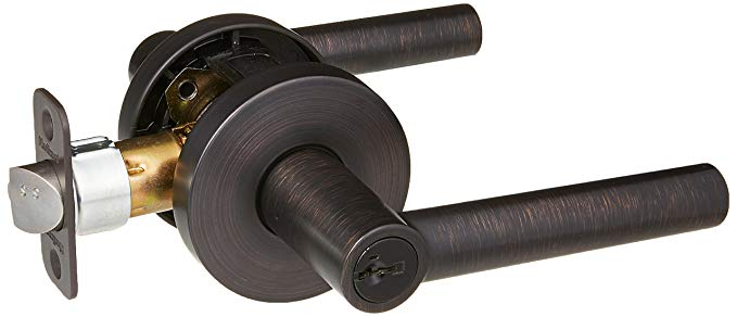 An image related to Kwikset 156 MIL Entry Venetian Bronze Lever Lockset Lock