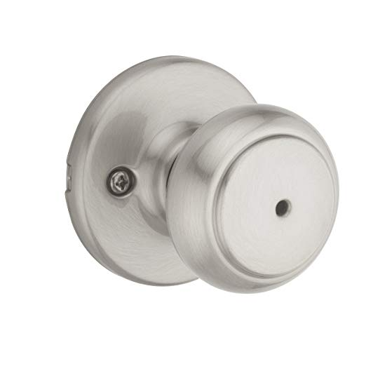 An image of Kwikset 93001-931 Bathroom Privacy Satin Nickel Lever Lockset Lock