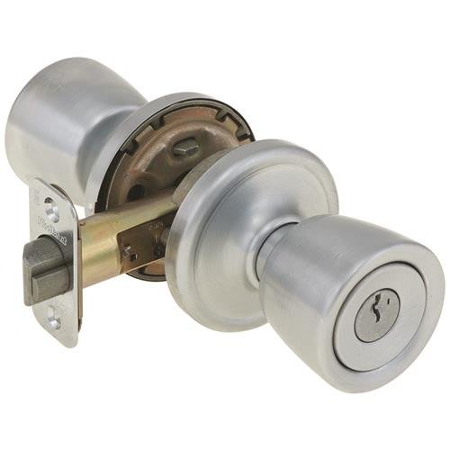 An image of Kwikset 97402-603 Entry Metal Satin Chrome Lever Lockset Lock