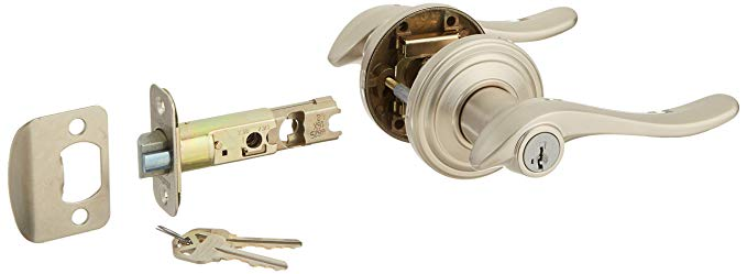 An image of Kwikset 97402-585 Entry Satin Nickel Lever Lockset Lock