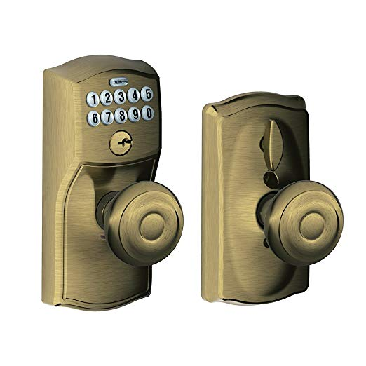 An image of Schlage FE595 CAM 609 GEO Entry Brass Lock | Door Lock Guide