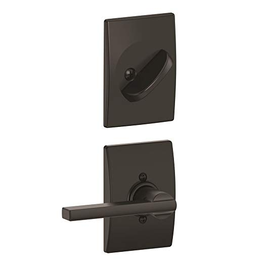 An image of Schlage F59 LAT Entry Black Lock | Door Lock Guide