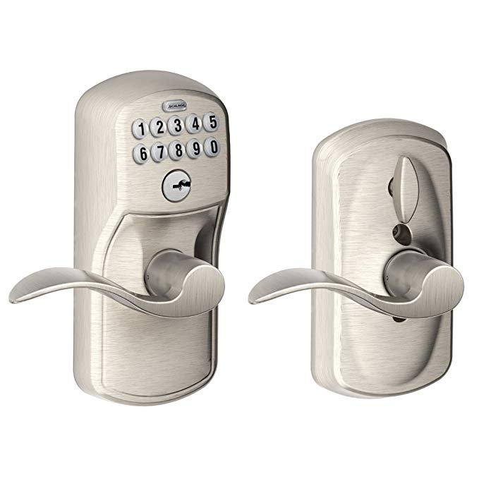 An image of Schlage FE595 PLY 619 ACC Entry Satin Nickel Lever Lockset Lock