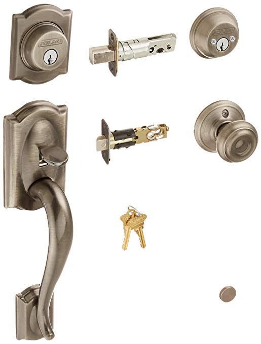 An image of Schlage F62CAM620GEO Pewter Lock | Door Lock Guide