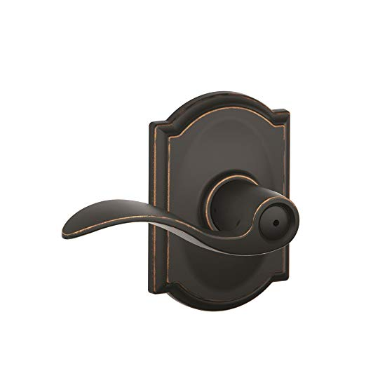 An image of Schlage F40 ACC Bathroom Privacy Aged Bronze Lever Lockset Lock