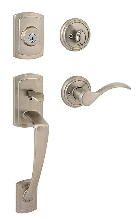 An image of Baldwin 91800-036 Brass Satin Nickel Lever Lockset Door Lock