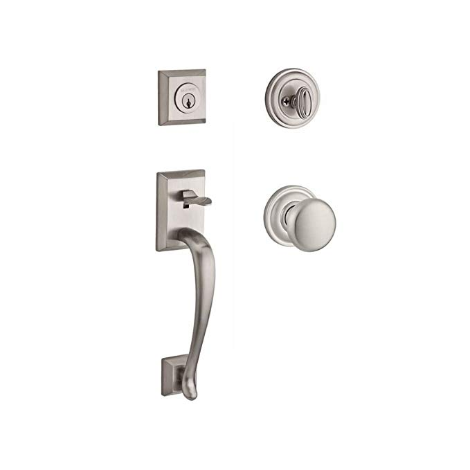 An image related to Baldwin 9BR1800-022 Brass Satin Nickel Lever Lockset Lock