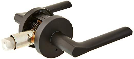 An image of Kwikset 155LSLRDT-514 Privacy Iron Black Lever Lockset Lock | Door Lock Guide