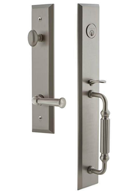 An image related to Grandeur 847766 Brass Satin Nickel Lever Lockset Lock