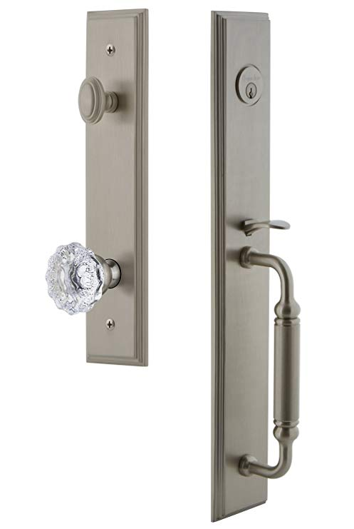An image related to Grandeur 842345 Brass Satin Nickel Lever Lockset Lock