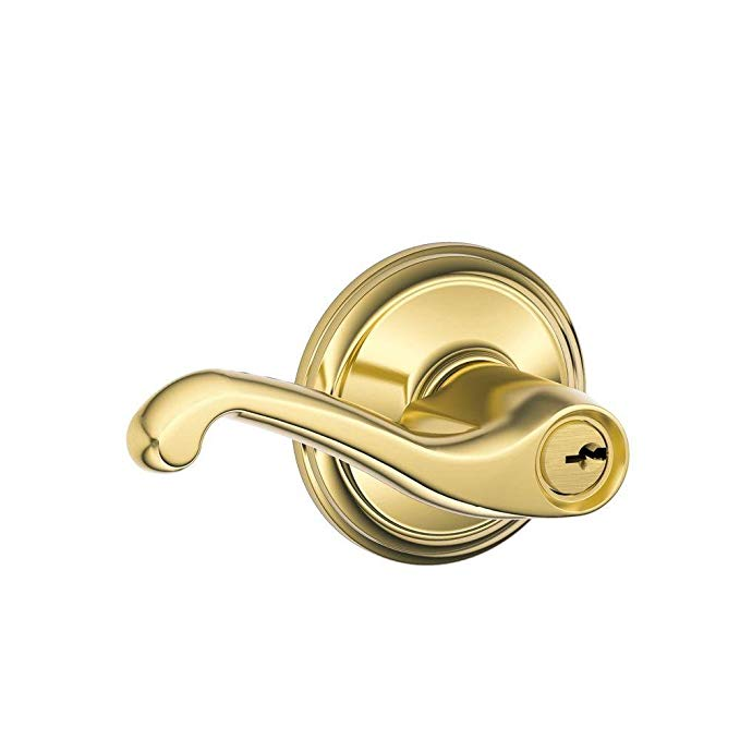 An image related to Schlage F51A FLA 505 Entry Brass Lever Lockset Lock