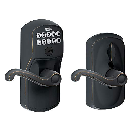 An image related to Schlage FE595 PLY Entry Aged Bronze Lever Lockset Lock