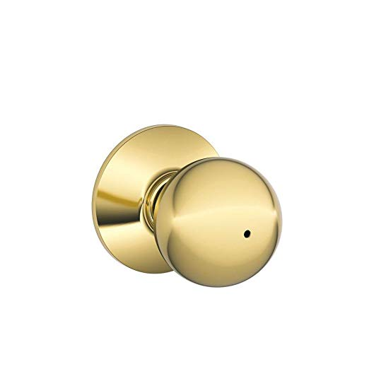 An image of Schlage F40ORB605 Bathroom Privacy Brass Lock | Door Lock Guide