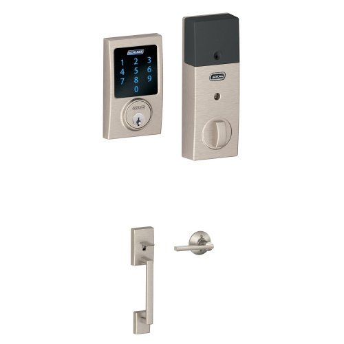 An image of Schlage FBE469NX ACC 619 CAM Satin Nickel Touchscreen Door Lock | Door Lock Guide