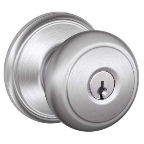 An image of Schlage F51AAND626 Entry Satin Chrome Lock | Door Lock Guide