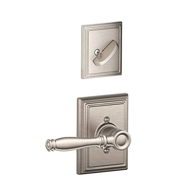 An image of Schlage F59BIR619ADD Satin Nickel Lever Lockset Lock