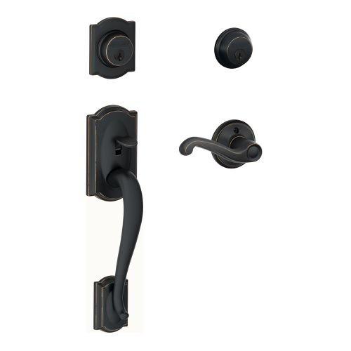 An image of Schlage F62CAM505FLARH Aged Bronze Lock | Door Lock Guide