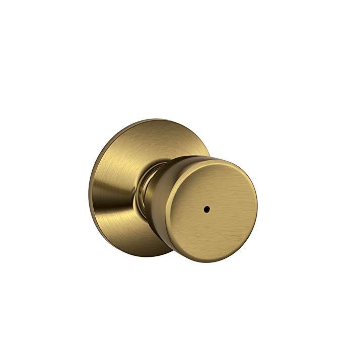 An image of Schlage F40 BEL 609 16-080 10-027 Bathroom Privacy Brass Lever Lockset Lock | Door Lock Guide