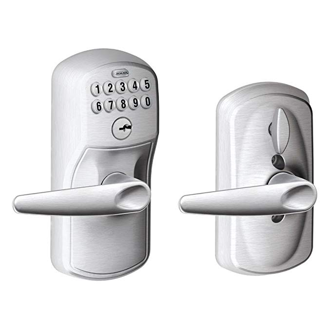 An image related to Schlage FE595 PLY House Entry Brushed Chrome Lever Lockset Lock