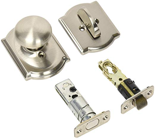 An image of Schlage F59PLY619CAM Satin Nickel Lock