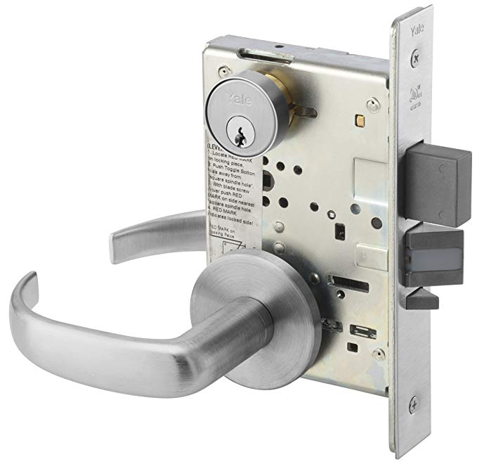 An image related to Yale PBR 8847FL 626 Satin Chrome Lever Lockset Lock