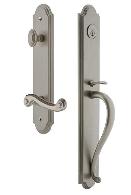 An image of Grandeur 846957 Satin Nickel Lever Lockset Door Lock
