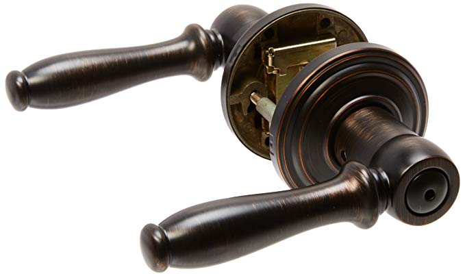 An image related to Kwikset 97300-789 Bathroom Privacy Venetian Bronze Lever Lockset Lock