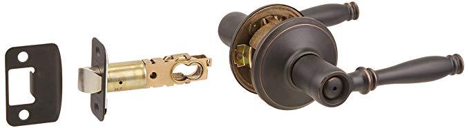 An image related to Schlage F40 BIR Bathroom Aged Bronze Lever Lockset Lock