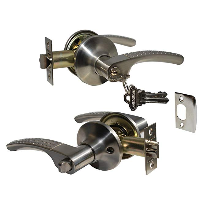 An image of Constructor CON4406 Entry Satin Nickel Lever Lockset Lock | Door Lock Guide
