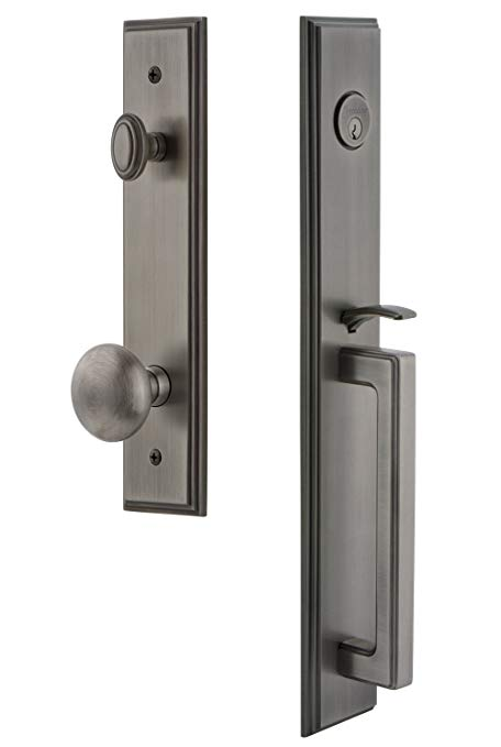 An image of Grandeur 845030 Pewter Lever Lockset Lock