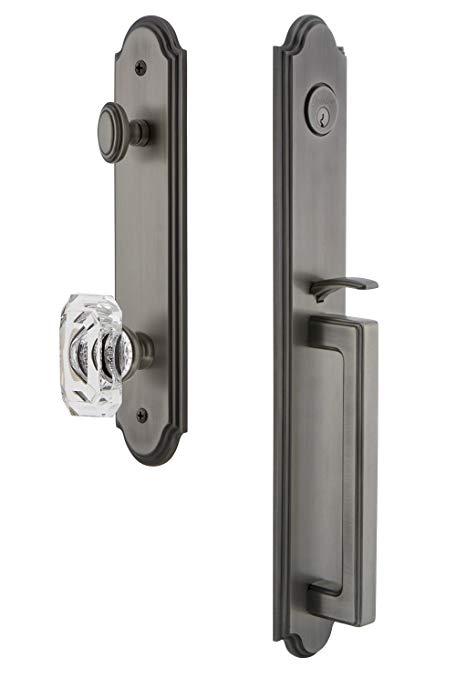 An image of Grandeur 843474 Pewter Lever Lockset Lock | Door Lock Guide